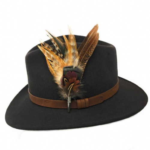 Womens  Wool Brown Fedora Hat with Leather Belt Trim and Country Feather Brooch - Naunton